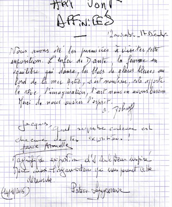 LIVRE D'OR DE L'EXPOSITION AFFINITES